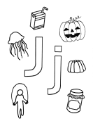 What begins with J j coloring page