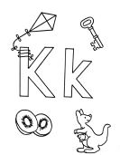 What begins with K k coloring page