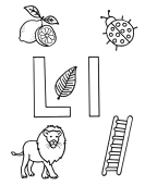 What begins with L l coloring page