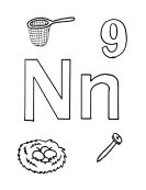 What begins with N n coloring page
