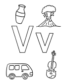 What begins with V v coloring page