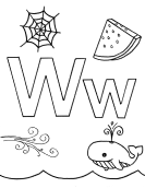 What begins with W w coloring page