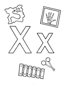 What begins with X x coloring page