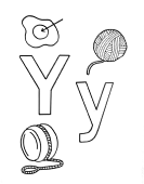 What begins with Y y coloring page