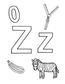 What begins with Z z coloring page