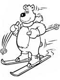 bear on skiis coloring page