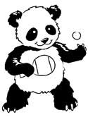 Chinese panda bears coloring page
