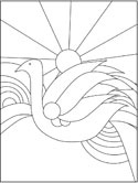 bird and rainbow stained glass coloring page