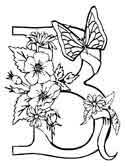 Letter B is for butterfly coloring page