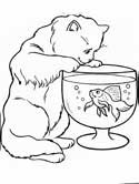 cats and fish coloring page