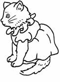 cat in a dress coloring page