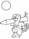 beaver carrying a log coloring pages