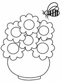 bee and flowers coloring page