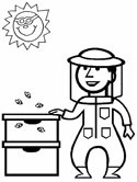 beehive and bee keepercoloring page
