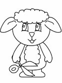 lamb with shears coloring page