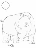 Mammals of India: rhino coloring page
