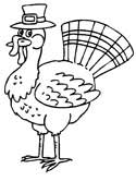 turkey wearing a hat coloring page