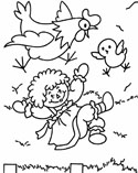 raggedy doll and chicken coloring page