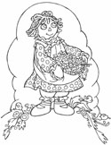 raggedy doll summer coloring page
