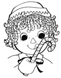 raggedy doll and candy cane coloring page
