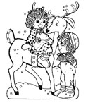 raggedy dolls and reindeer coloring page