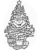 Christmas tree with gifts coloring page