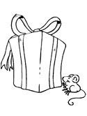 Christmas gift and mouse coloring page