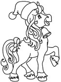Christmas horse coloring page
