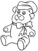 Christmas teddy bear coloring page