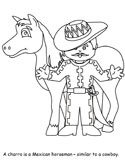 Mexican charro coloring page