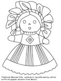 Mexican doll coloring page