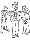 dad and kids coloring page