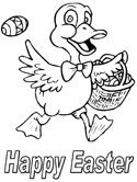 Easter duck coloring page