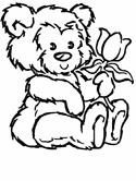 teddy bear and tulip coloring page