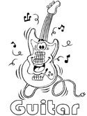 musical instruments - electric guitar coloring page