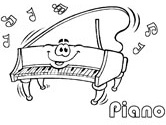 music - piano coloring page
