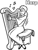 harpist coloring page