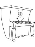 musical instruments - piano coloring page