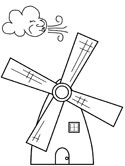 Dutch windmill coloring page