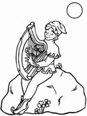 leprechaun and harp coloring pages
