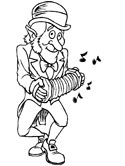 leprechaun playing an accordion coloring page
