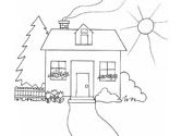Spring house coloring page