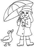 spring duck, girl and umbrella coloring page