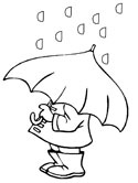 umbrella and rain coloring page