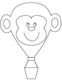 monkey hot air balloon coloring page