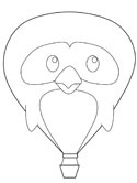 penguin hot air balloon coloring page