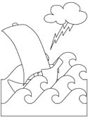 ship in a storm coloring page